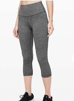 *BRAND NEW WITH TAGS* Lululemon Wunder Under Crop HR *F-  Heathered Black Size 8