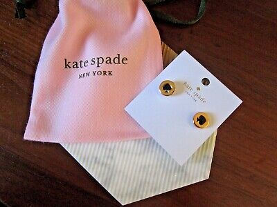 Kate Spade New York Classic Logo Stud Earrings Black Gold New W/Pouch