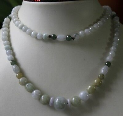 100% Natural Untreated Grade A Jadeite Jade Beautiful Multi-Color Necklace 27""