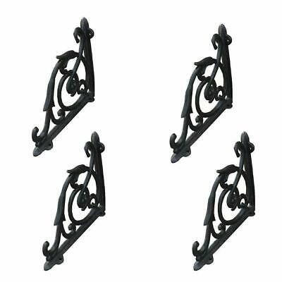 2Pairs Cast Iron Antique Style Brackets Garden Braces Rustic Shelf Bracket