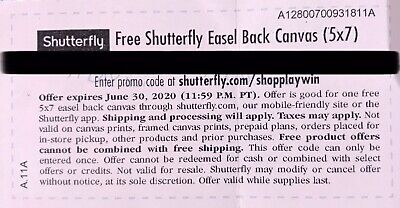 Shutterfly Easel Back Canvas (5X7). Code expires 06/30/2020