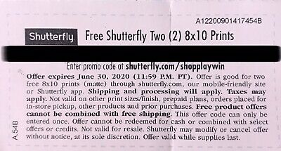 Shutterfly Two (2) 8x10 Prints. Code expires 06/30/2020
