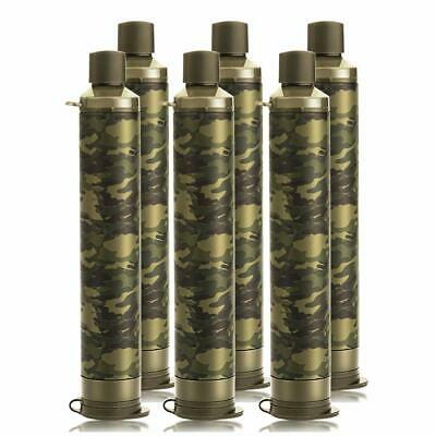 6 Pack Personal Water Filter Straw with 4-Stage Portable Emergency Survival Tool