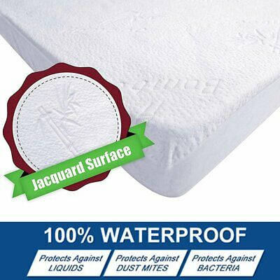 Bamboo Hypoallergenic Mattress Protector 100% Waterproof Fitted Bed Cover Pad CP