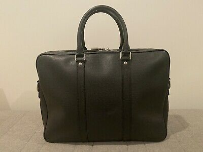 Authentic LOUIS VUITTON Porte-Documents Voyage Briefcase Taiga Grey Leather PM