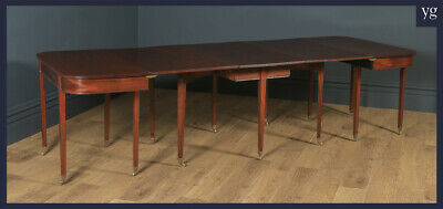 Antique Large Georgian Regency Mahogany 12 Seat Extendable D End Dining Table