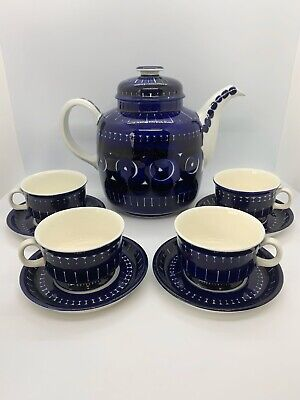ARABIA Finland VALENCIA Teapot Set ULLA PROCOPÉ With 4 Demitasse Cups & Saucers
