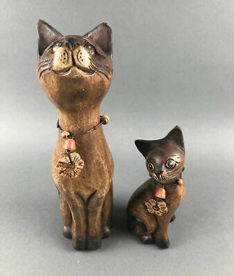 Vintage Hand Carved Pair of Wooden Cats with Necklaces