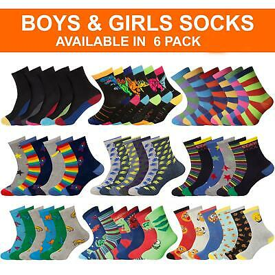 3 & 6 Pack Boys Girls Ankle Socks Childrens Kids Multicoloured Designer Sock