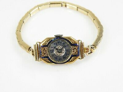 10 K Yellow Gold Antique Art Deco Swiss Watch With Cobalt blue Enamel 1920's
