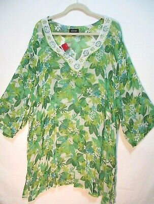 NWT AVENUE Womens Plus Size 30/32 Sheer Tunic Green Floral Summer Top