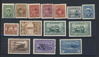 14x Canada WWII Stamps #249 to 262-$1.00 5x MNH 9x MH  Guide Value = $175.00