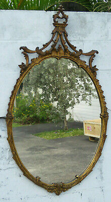 Chinese Chippendale Early 1900s Gold Distressed Wall Bathroom Vanity Mirror 1199