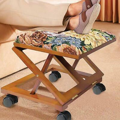 Adjustable Wooden Foot Stool – Floral Tapestry Foot Rest