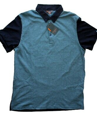 Ben Sherman Heritage Polo Men's Large NEW with Tag blue black color block shirt