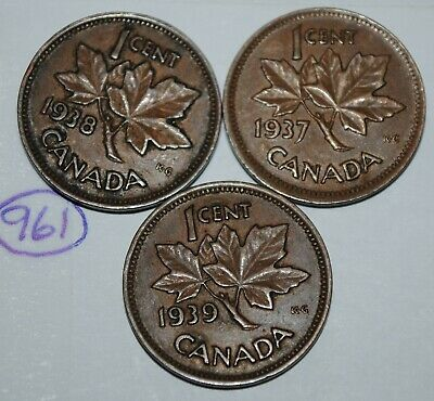 Canada 1937 1938 1939 1 Cent Copper One Canadian Penny 3 Coins Lot #961