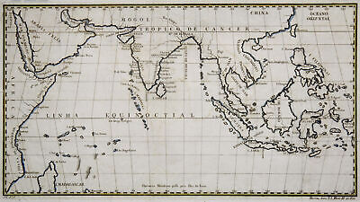 Indian Ocean - Southern Asia Original Copperplate Map Barros 1779