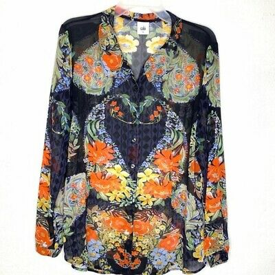 CAbi Womens Size Large #3072 Amour Sheer Floral Button Down Blouse Shirt Blue