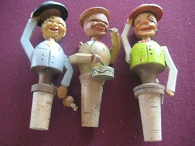 Vintage Anri Mechanical, Wooden Bottle Stoppers x3.