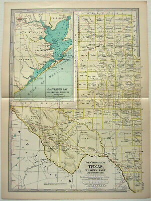 Original 1902 Map of Western Texas by The Century Company, Antique