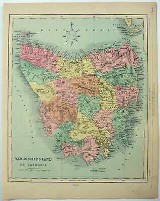 Original 1878 Map of Tasmania, Australia by William Hughes. Antique