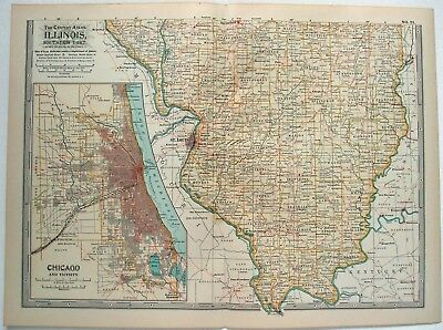 Original 1902 Map of Southern Illinois by The Century Company. Antique