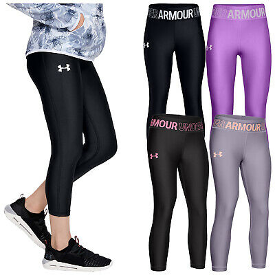 2020 Under Armour Junior Girls Ankle Cropped Leggings UA Gym Training Running