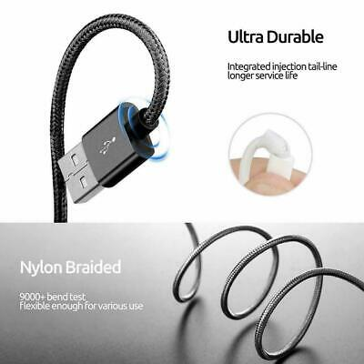 Heavy Duty Nylon Braided Lightning USB Charger Cable 1M 2M For iPhone X 6 7 8