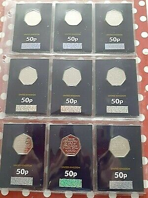 ** STOCK CLEARANCE**9 X 2020 Brexit 50p Carded BU Coins..
