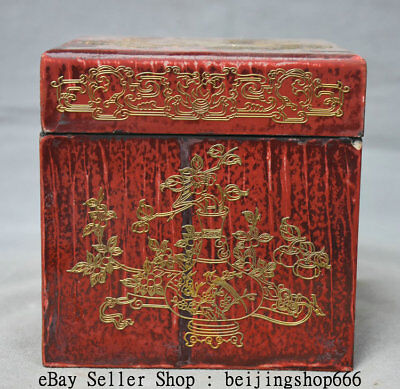 "5"" Old Chinese Lacquerware Painting Dynasty Flower Birds Jewel Case Jewelry Box"