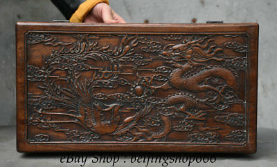 """16"""" Old Chinese Huanghuali Wood Carving Dragon Phoenix storage Jewelry box"""