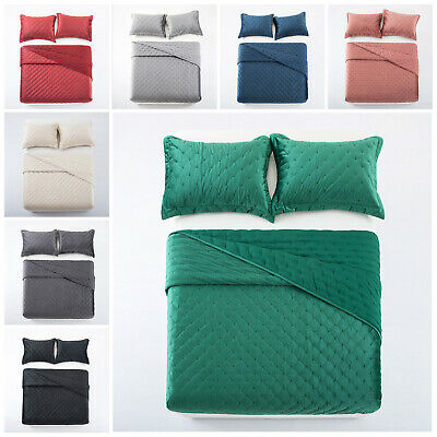 3 Piece Double Quilted Velvet Bedspread Bed Throws Bedding Set With Pillow Cases