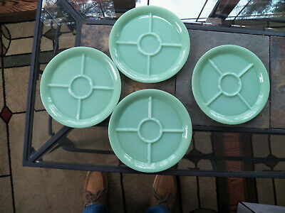 Set of Four Fire King Jade-ite Green Jadite Restaurant Ware 5 Compartment Plates