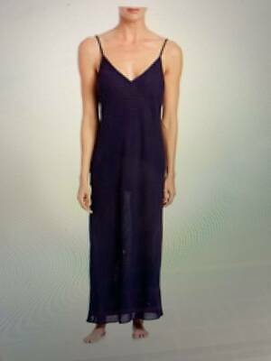 $145 New XL Skin sheer  label long 100% cotton nightgown 3 UK XL navy blue