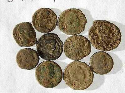 10 ANCIENT ROMAN COINS AE3 - Uncleaned and As Found! - Unique Lot 07904