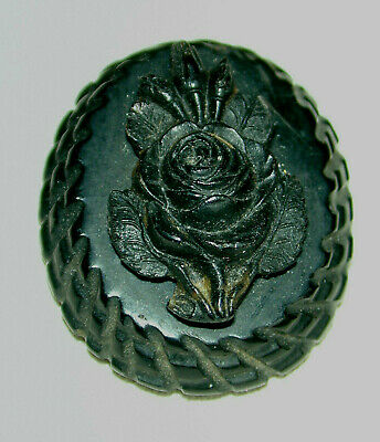 Antique Victorian Carved Rose Oak Bog Wood? Button