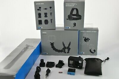 GoPro HERO 8 Black Action Camera Bundle 128GB Memory Card, Jaws, Head Strap More