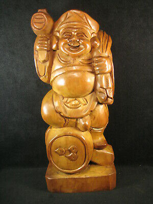 Large Vintage Hand Carved Wooden Statue Of Japanese God Of Luck Daikoku
