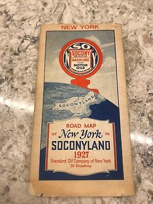 Antique 1927 ROAD MAP OF NEW YORK SOCONYLAND STANDARD OIL CO SOCONY GAS OIL