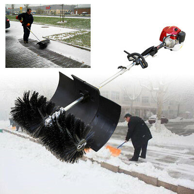 Hand held power sweeper 2 cycle gas oil mixture Cleaning Broom Nylon Brush 2.3HP