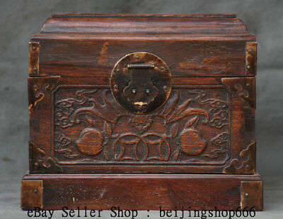 """9.2"""" Old Chinese Huanghuali Wood Carving Peach Handle jewel case Jewelry box"""