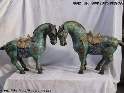 "16""Tibet Folk collection 100% Pure Bronze cloisonne propitious Lucky Horse Pair"
