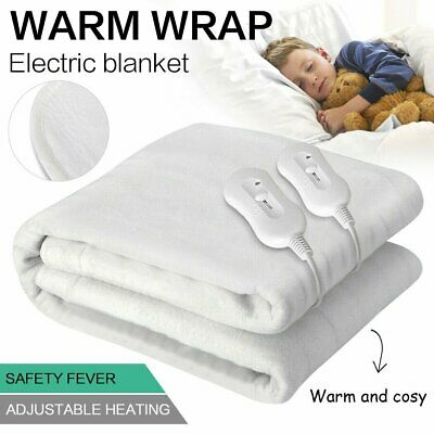 Washable Heated Electric Blanket Fully Fitted Polyester 5 Size