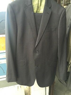 Ted Baker Endurance Navy Pinstripe Wool Suit Jacket 40R Pants 34R