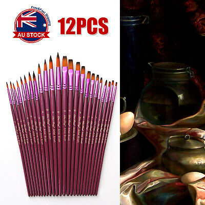 12x Purple Oil Painting Brushes Set Acrylic Watercolor Artist Face Paint Craft A