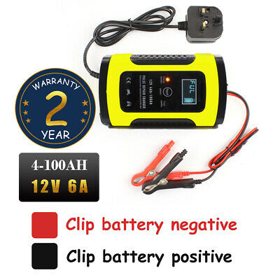 12V 6A Smart Pulse Repair Charger LCD Display Battery Charger for Car Motorcycle