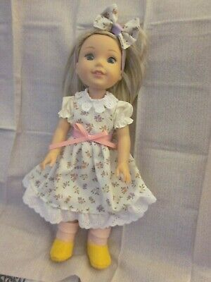 Wellie Wishers/14 inch doll clothes/handmade print dress/lace/hair bow/shoes