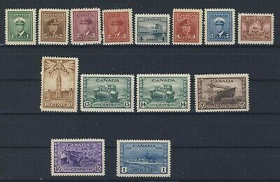 14x Canada WWII Stamps #249 to 262-$1.00 13x MH 1x MNG  Guide Value = $171.00
