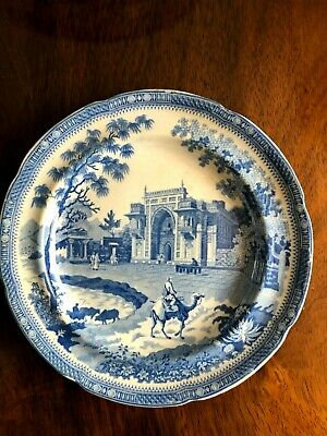 Antique Early 19Thc Rogers Blue & White Pearlware Plate Camel Pattern C1815