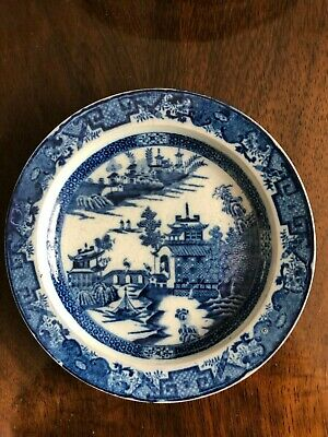 Antique Early 19Thc Leeds Pottery Pearl Glazed Blue & White Plate- C1810- Willow
